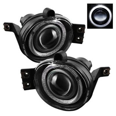 Headlights & Tail Lights - Fog Lights - Spyder - Dodge Ram Spyder Halo Projector Fog Lights - Clear - FL-P-DRAM02-HL