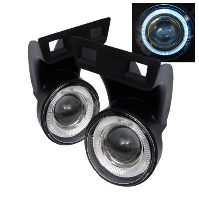 Headlights & Tail Lights - Fog Lights - Spyder - Dodge Ram Spyder Halo Projector Fog Lights - Clear - FL-P-DRAM94-HL