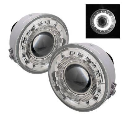 Headlights & Tail Lights - Fog Lights - Spyder - Ford F150 Spyder Halo Projector Fog Lights - Clear - FL-P-FF15006-HL