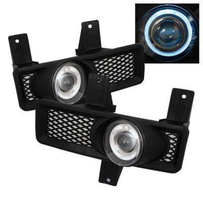 Headlights & Tail Lights - Fog Lights - Spyder - Ford F250 Spyder Halo Projector Fog Lights - Clear - FL-P-FF15097-HL