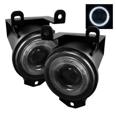Headlights & Tail Lights - Fog Lights - Spyder - GMC Yukon Spyder Halo Projector Fog Lights - Smoke - FL-P-GD99-HL-SM