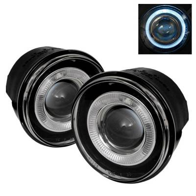 Headlights & Tail Lights - Fog Lights - Spyder - Dodge Durango Spyder Halo Projector Fog Lights with Switch - Clear - FL-P-JGC05-HL