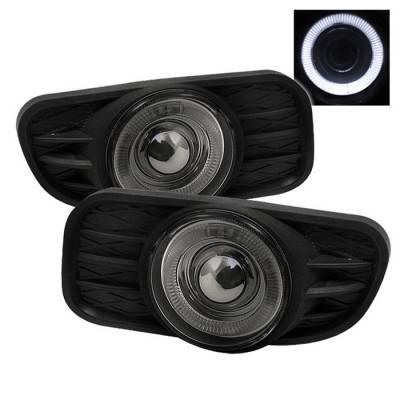 Headlights & Tail Lights - Fog Lights - Spyder - Jeep Grand Cherokee Spyder Halo Projector Fog Lights with Switch - Smoke - FL-P-JGC99-HL-SM