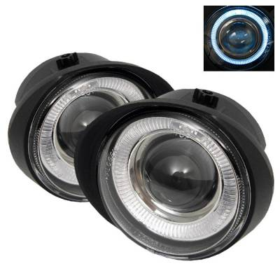 Headlights & Tail Lights - Fog Lights - Spyder - Nissan Murano Spyder Halo Projector Fog Lights - Clear - FL-P-NA02-HL