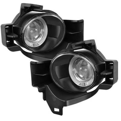 Headlights & Tail Lights - Fog Lights - Spyder - Nissan Altima Spyder Halo Projector Fog Lights - Clear - FL-P-NA2010-4D-C