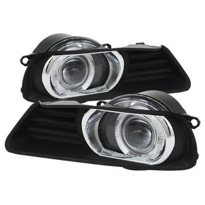 Headlights & Tail Lights - Fog Lights - Spyder - Toyota Camry Spyder Halo Projector Fog Lights - Clear - FL-P-TCAM07-HL