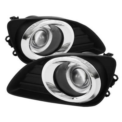 Headlights & Tail Lights - Fog Lights - Spyder - Toyota Camry Spyder Halo Projector Fog Lights - Clear - FL-P-TCAM2010-HL