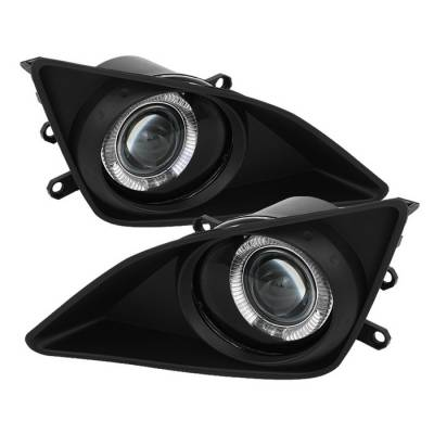 Headlights & Tail Lights - Fog Lights - Spyder - Toyota Corolla Spyder Halo Projector Fog Lights - Clear - FL-P-TCO08-HL