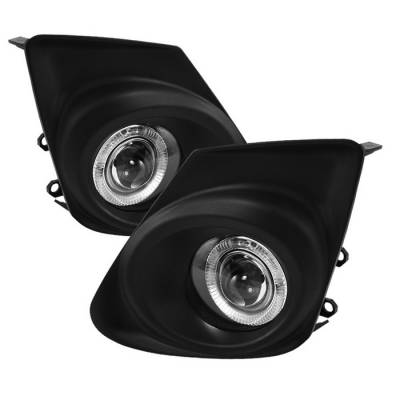 Headlights & Tail Lights - Fog Lights - Spyder - Toyota Corolla Spyder Halo Projector Fog Lights - Clear - FL-P-TCO2011-HL