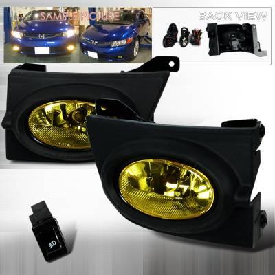 Headlights & Tail Lights - Fog Lights - Spec-D - Honda Civic 4DR Spec-D OEM Fog Lights - Yellow - LF-CV064AMOEM