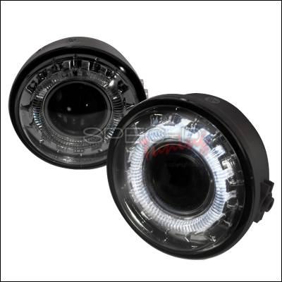 Headlights & Tail Lights - Fog Lights - Spec-D - Ford F150 Spec-D Halo Projector Fog Lights - Smoke - LFP-F15006G-WJ