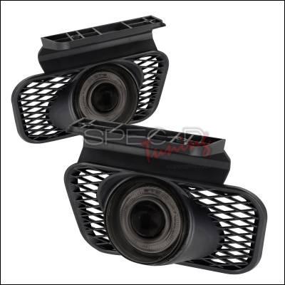 Headlights & Tail Lights - Fog Lights - Spec-D - Chevrolet Silverado Spec-D Halo Projector Fog Lights - Smoke - LFP-SIV03HG-WJ