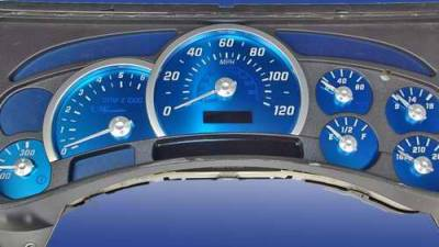Car Interior - Gauges - US Speedo - US Speedo Aqua Blue Stainless Steel Gauge Face Kit with White Background and Matching Needles - AQ H2 01