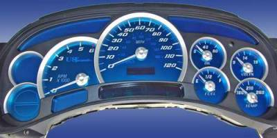 Car Interior - Gauges - US Speedo - US Speedo Aqua Blue Stainless Steel Gauge Face Kit with White Background and Matching Needles - AQ GM 01