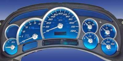 Car Interior - Gauges - US Speedo - US Speedo Aqua Blue Stainless Steel Gauge Face Kit with White Background and Matching Needles - AQ GM 02