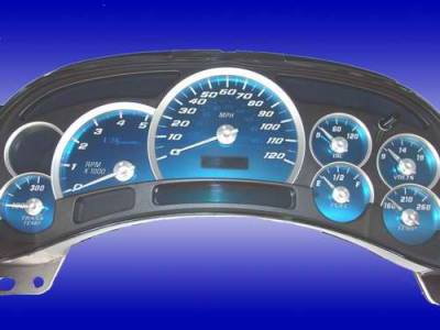 Car Interior - Gauges - US Speedo - US Speedo Aqua Blue Stainless Steel Gauge Face Kit with White Background and Matching Needles - AQ GM 03