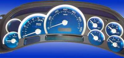 Car Interior - Gauges - US Speedo - US Speedo Aqua Blue Stainless Steel Gauge Face Kit with White Background and Matching Needles - AQ GM 05