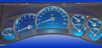 Car Interior - Gauges - US Speedo - US Speedo Aqua Blue Stainless Steel Gauge Face Kit with White Background and Matching Needles - AQ H2 11