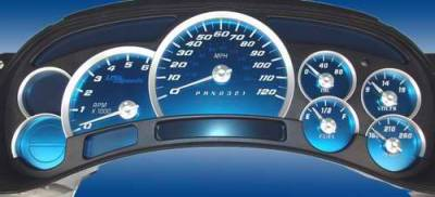 Car Interior - Gauges - US Speedo - US Speedo Aqua Blue Stainless Steel Gauge Face Kit with White Background and Matching Needles - AQ GM 11