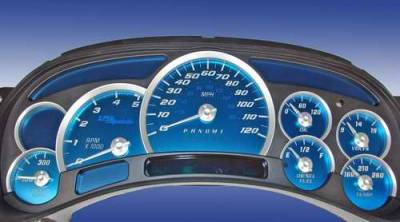 Car Interior - Gauges - US Speedo - US Speedo Aqua Blue Stainless Steel Gauge Face Kit with White Background and Matching Needles - AQ GM 13