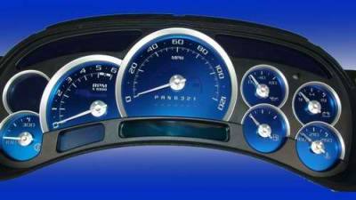 Car Interior - Gauges - US Speedo - US Speedo Aqua Blue Stainless Steel Gauge Face Kit with White Background and Matching Needles - AQ GM 15