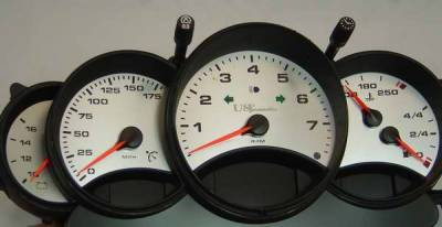 Car Interior - Gauges - US Speedo - US Speedo Stainless Steel Gauge Face - 5PC - Displays 175 MPH - 9960102