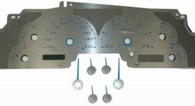 Car Interior - Gauges - US Speedo - US Speedo Stainless Steel Gauge Face with Blue Back and Color Match Needles - Displays Tachometer - SS F 01B