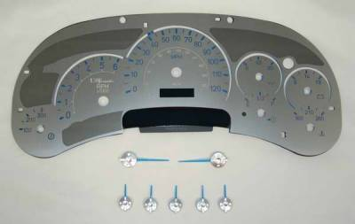 Car Interior - Gauges - US Speedo - US Speedo Stainless Steel Gauge Face with Blue Back and Color Match Needles - Displays 120 MPH - Transmission Temperature - SS H2 01B