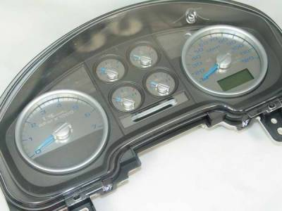 Car Interior - Gauges - US Speedo - US Speedo Stainless Steel Gauge Face with Blue Back and Color Match Needles - Displays - SS F 04B