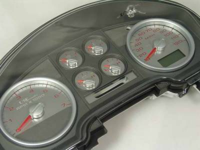 Car Interior - Gauges - US Speedo - US Speedo Stainless Steel Gauge Face with Red Back and Color Match Needles - Displays - SS F 04R