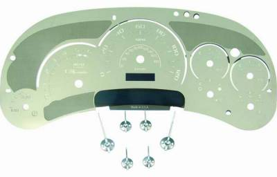 Car Interior - Gauges - US Speedo - US Speedo Platinum Font Stainless Steel Gauge Face with Whte Back and Color Match Needles - Displays 120 MPH - Transmission Temperature - SS GM 05W