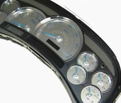 Car Interior - Gauges - US Speedo - US Speedo Platinum Font Stainless Steel Gauge Face with Blue Back and Color Match Needles - Displays 120 MPH - No Transmission - SS GM 06B