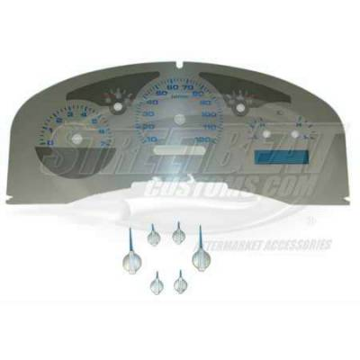 Car Interior - Gauges - US Speedo - US Speedo Stainless Steel Gauge Face with Blue Back and Color Match Needles - Displays - SS F 06B
