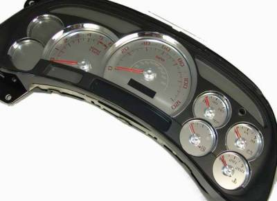 Car Interior - Gauges - US Speedo - US Speedo Platinum Font Stainless Steel Gauge Face with Red Back and Color Match Needles - Displays 120 MPH - No Transmission - SS GM 06R