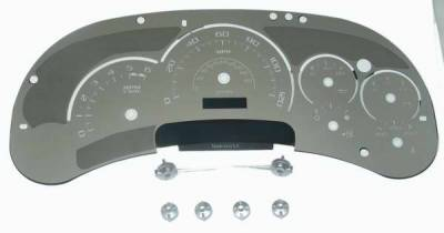 Car Interior - Gauges - US Speedo - US Speedo Platinum Font Stainless Steel Gauge Face with White Back and Color Match Needles - Displays 120 MPH - No Transmission - SS GM 06W