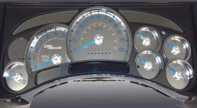 Car Interior - Gauges - US Speedo - US Speedo Stainless Steel Gauge Face with Blue Back and Color Match Needles - Displays 120 MPH - Transmission Temperature - SS H2 11B