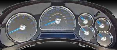 Car Interior - Gauges - US Speedo - US Speedo Stainless Steel Gauge Face with Blue Back - SS GM 21B