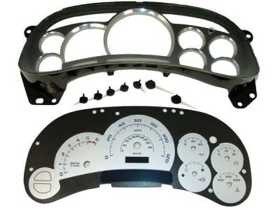 Car Interior - Gauges - US Speedo - US Speedo Escalade Style Gague Cluster Platinum Overlay - Displays 120 MPH - No Transmission Temperature - Platinum Lens - Silver Background - Blue Needles - PLK0402