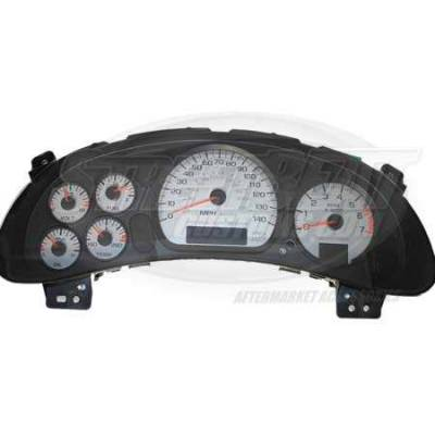 Car Interior - Gauges - US Speedo - US Speedo Silver Exotic Color Gauge Face - Displays 120 MPH - 3 Gauges - MON 04 SI