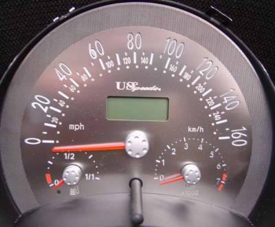 Car Interior - Gauges - US Speedo - US Speedo Stainless Steel Gauge Face - Displays 160 MPH - Manual - VWB0301