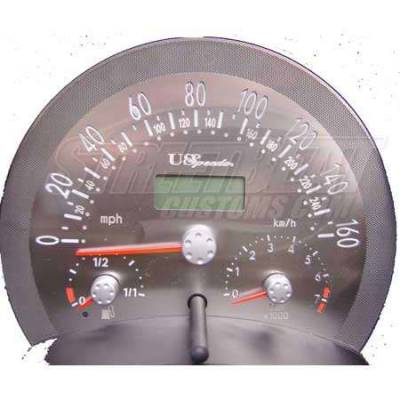 Car Interior - Gauges - US Speedo - US Speedo Stainless Steel Gauge Face - Displays 160 MPH - Automatic - VWB0302