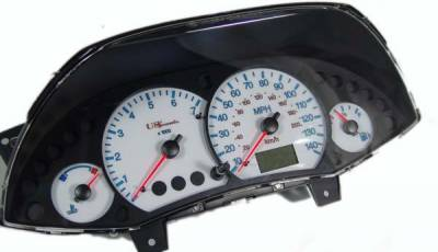 Car Interior - Gauges - US Speedo - US Speedo White Exotic Color Gauge Face - Displays MPH - Tachometer - FOC 04 WH
