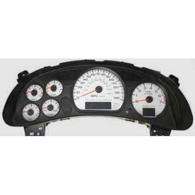 Car Interior - Gauges - US Speedo - US Speedo White Exotic Color Gauge Face - Displays 120 MPH - 3 Gauges - MON 04 WH