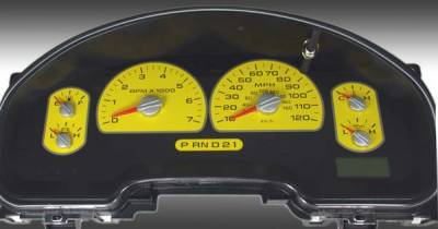 Car Interior - Gauges - US Speedo - US Speedo Yellow Exotic Color Gauge Face - Displays MPH - XLT 04 YE