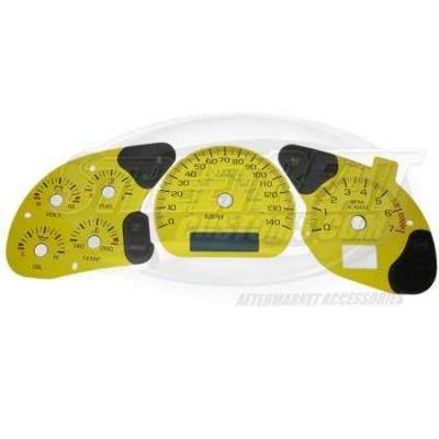 Car Interior - Gauges - US Speedo - US Speedo Yellow Exotic Color Gauge Face - Displays 120 MPH - 3 Gauges - MON 04 YE