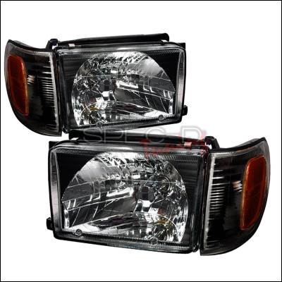 Headlights & Tail Lights - Headlights - Spec-D - Toyota 4Runner Spec-D Crystal Housing Headlights - Black - 2LCLH-4RUN99JM-KS