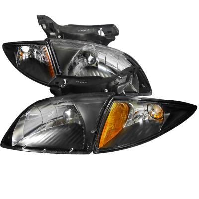 Headlights & Tail Lights - Headlights - Spec-D - Chevrolet Cavalier Spec-D Black Housing Euro Headlights with Corner - 2LCLH-CAV00JM-DP
