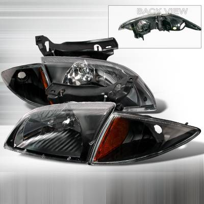 Headlights & Tail Lights - Headlights - Spec-D - Chevrolet Cavalier Spec-D Crystal Housing Headlights - Black - 2LCLH-CAV00JM-KS