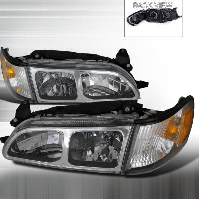 Headlights & Tail Lights - Headlights - Spec-D - Toyota Corolla Spec-D Headlight & Corner Light - Chrome - 2LCLH-COR93-DP