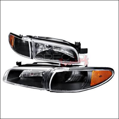 Headlights & Tail Lights - Headlights - Spec-D - Pontiac Grand Prix Spec-D Crystal Housing Headlights - Black - 2LCLH-GPX97JM-KS